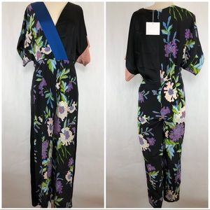 DVF Silk Faux Wrap Jumpsuit size 6 NWT